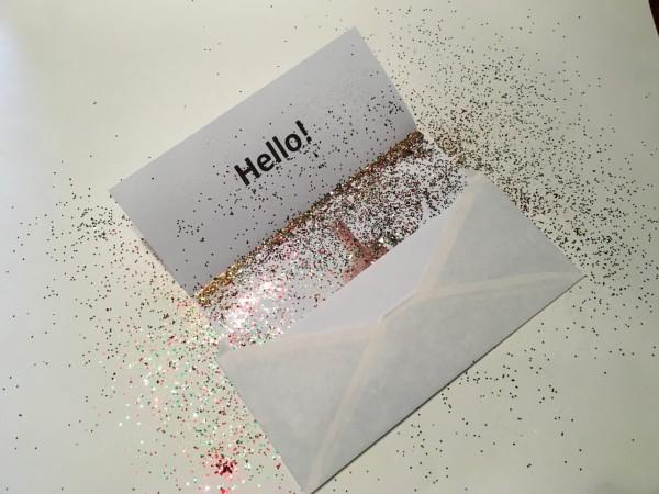 Middle finger prank in envelope with glitter.